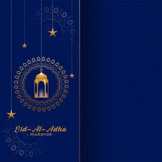 Eid al adha bakreed greeting in gold and blue colors Happy Eid Mubarak Wishes, Eid Mubarak Card, Eid Mubarak Greeting Cards, Eid Mubarak Greetings, Hajj Mubarak, Eid Pics, Ramadan Photos, Eid Photos, Eid Background