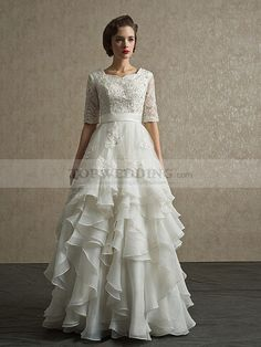 Half Sleeved Beading Appliqued Organza A Line Wedding Dress