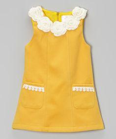Look at this #zulilyfind! Orange Floral Wool-Blend A-Line Dress - Toddler & Girls by Blossom Couture #zulilyfinds