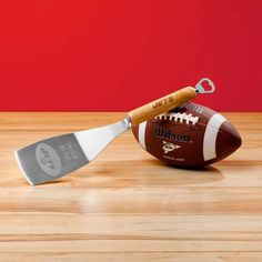 Your favorite football team's name is heat-stamped onto the hard maple wood handle and team logo is laser etched onto spatula surface. This heavy-duty, stainless steel spatula features a bottle opener on its end. Graduation Gifts For Him, Personalized Graduation Gifts, Personalised Gifts For Him, Personalized Wedding, Denver Broncos, Pittsburgh Steelers, Indianapolis Colts, Seattle Seahawks, Dallas Cowboys