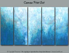 Multi panel Abstract wall art, Extra Large painting, Teal gray, Canvas print set Five piece 5 pc, Blue aqua turquoise, Office, Home decor