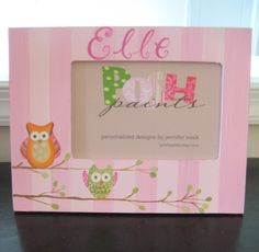 girly huggable owls, picture frame for 4x6 photo. $33.00, via Etsy.