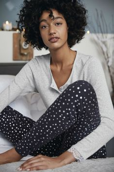 In our snug-fit shape – a super-cosy tapered silhouette, these navy pyjama bottoms are accented all-over with scattered foil-print stars. The waistband is elasticated, and finished with a contrasting black drawcord. Style with any of our sleep to Thoughtful Gifts For Her, Special Gifts For Her, Baggy Dresses, Knee Length Dresses, Cotton Sleepwear, The White Company, Pajama Bottoms, Dress Cuts, Party Gowns