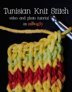 A previous tutorial on Moogly showed you how to make Tunisian Foundation Rows and the Simple Stitch. Now it's time to learn the Tunisian Knit Stitch!