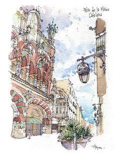 PRINT / Palau de la Música. Lluís Domènech i por drawingBarcelona