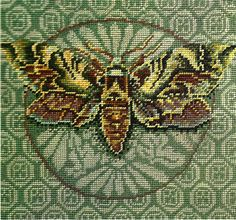 Kaffe Fassett : Moth. Many are drawn to this design. But why? (Kit seems to be unavailable so stitching it from this picture.)