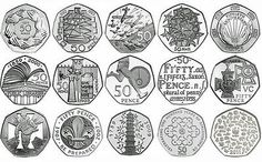 Rare Coins Commemorative various Rare British Coins, Rare Coins, English Coins, Rare 50p, Fifty Pence Coins, 50p Coin, Coin Design, Uk History, Coin Worth