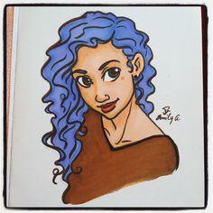 Purple hair #drawing #art #prismacolor #copic #purplehair #cute