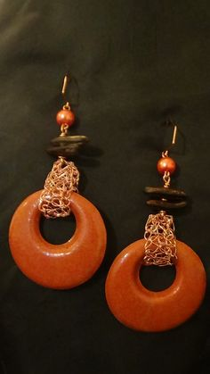 Earring handmade from Sand, with copper crochet wire a local seed and pearl