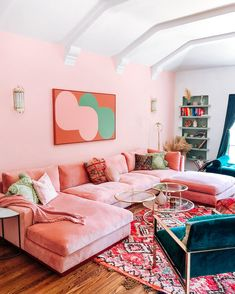 Living Room Sofa, Apartment Living, Living Room Decor, Bedroom Decor, Pink Living Room Furniture, Retro Apartment, Colorful Apartment, Aesthetic Room Decor, Dream Decor