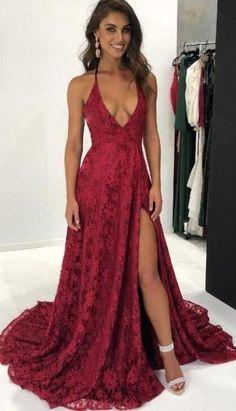 Best Prom Dresses. Burgundy Deep V Neckline High Split Lace ... 36c986de8