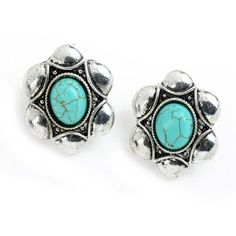 Tagoo Womens Vintage Retro Oval Turquoise Silver Plated Stud Earrings