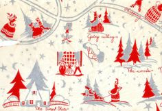 """10"""" Swatch ART DECO XMAS GIFT WRAP Wrapping Paper VICTORIAN VILLAGE Visiting etc"""