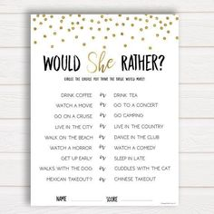 Would She Rather Bridal Shower Game, Bridal Shower Game, Bachelorette Party, Bachelorette Games, What Would the Bride Do Game, Bridal Games ------ A hilarious game for your bridal shower or bachelorette party, and really shows how well the guests know the bride-to-be. Guess which
