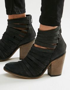 300337d8624 Free People Hybrid Black Leather Heeled Ankle Boots at asos.com