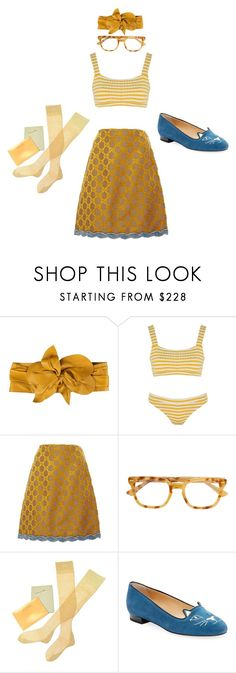 """Sunshine on my shoulders"" by millarca ❤ liked on Polyvore featuring Marc Jacobs, Solid & Striped, Gucci, Christian Dior, Charlotte Olympia, yellow and fashionset"