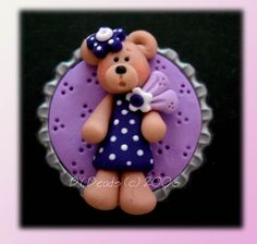 Purple Dress Bear Polymer Clay Bottle Cap Bead, Scrapbooking, Bow Center, Pendant, Cupcake topper, Magnet. $4.25, via Etsy.