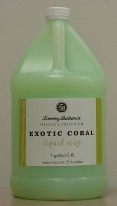 Tommy Bahama Exotic Coral Liquid Soap Gallon by Tommy Bahama. $23.95. The Travelers Collection line of personal care amenities have been uniquely designed to support the casual lifestyle of the Tommy Bahama brand. You will feel relaxed and pampered as they experience the gentle formulas that have been developed and packaged with the environment in mind.  The custom essence of Exotic Coral in all of the liquid and bar soap products bring a clean fresh aroma to your se...