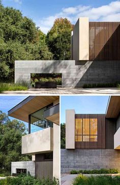 This modern house in California features concrete, wood, and steel throughout the design of the home. Modern Architecture House, Residential Architecture, Architecture Design, Architecture Awards, Chinese Architecture, Futuristic Architecture, Landscape Architecture, Modern House Plans, Modern House Design