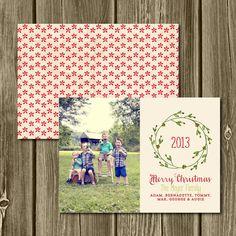 Digital Printable Snowflake Wreath Christmas Card Postcard. JPG or PDF.  Simple Christmas. Custom Holiday Card. Custom Photo Christmas Card....