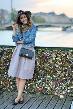 Chanel Bag, Topshop Jacket, Topshop Hat, H&M Skirt, Chanel Flats