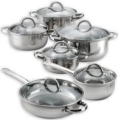 Heim 12 Piece Cookware Set Stainless Steel Pots Pans Lids Aluminum Ply New ** Read more reviews of the product by visiting the link on the image.