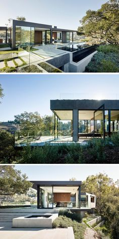 Design build studio Walker Workshop Beverly Hills, California, that has over 130 protected Oak trees. Architecture Design, Beautiful Architecture, Residential Architecture, Contemporary Architecture, Landscape Architecture, Contemporary Design, Modern Buildings, Modern House Design, Building Design