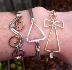 Gold cross bracelet hammered with Silver by JaneMcCroryJewelry