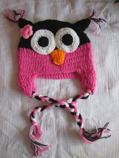 Pink & Black Crochet Owl Baby Girl Hat. $14.00, via Etsy.