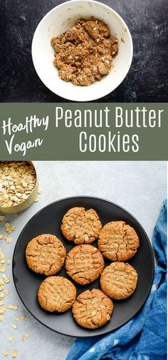 These healthy peanut butter cookies are made without refined sugar or flour! They're soft and tender with tons of peanut flavor. Plus they're gluten free vegan and easy to make! Peanut Butter Substitute, Healthy Peanut Butter Cookies, Strawberry Oatmeal Bars, Blueberry Crumble Bars, Quick Healthy Desserts, Easy Snacks, Healthy Meals, Chocolate Covered Bananas, Photo Food