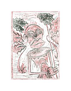 """linoleum cut """"maria magdalena black-red"""" by andreas gleich© Andreas, Artist, Red, Cards, Black, Art, Black People, Maps, Artists"""