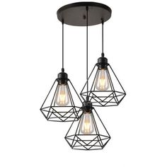 Chandelier Pendant Cage Shaped Diamond Lamp Ceiling Light Rope Adjustable Lighting for Kitchen Corridor Bar Bedroom - - Dining Room Lighting, Lamp, Pendant Lamp, Ceiling, Lights, Adjustable Lighting, Light, Chandelier, Wood Pendant Light