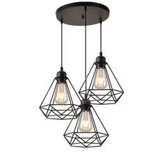 1pcs Goeco Moderne Lampe de suspension Placage Cage En M/étal Vintage Placage Lustre industriel Pour Restaurant Salon