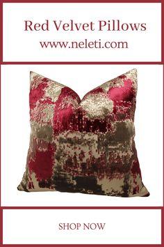 Throw Pillow-Red Velvet Pillow Handmade Cushion Covers, Handmade Cushions, Decorative Pillow Covers, Red Throw Pillows, Throw Pillow Covers, Velvet Cushions, How To Make Pillows, Boho Decor, Red Velvet