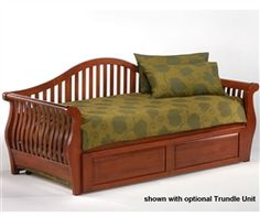 Nightfall Daybed by Night and Day is a stylish comfort day bed that comes with beautiful sleigh and curved slat arms. The optional extension drawers let you convert the Nightfall Daybed from a twin size bed to a full size sleeping surface Sofa Design, Daybed Design, Interior Design, Daybed With Drawers, Daybed With Storage, Wood Daybed, Wooden Sofa, Wooden Furniture, Kids Furniture