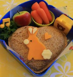 Bunny on Heart Shaped Sandwhich.