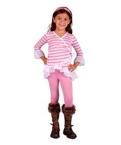 Loving this Pink Stripe Ruffle Wrap Tunic & Leggings - Toddler & Girls on #zulily! #zulilyfinds