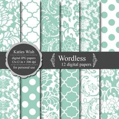 """Wordless"" by Katies Wish~12 digital papers, 12x12in."