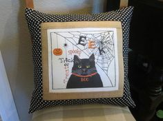 Halloween Pillow Cover Black Cat Decoration by ComfortsofHomeDecor, $35.00