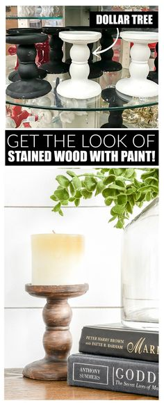An easy tutorial for getting the look of stained wood using paint.  See how I used the simple technique to give Dollar Tree pedestal candle holders a more expensive look! #dolllartree #dollartreediy