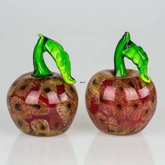 Glasæble, Rødt æble med mønster, 13cm, Glaskunst, Mundblæst   Nr. 4474   DPH Trading