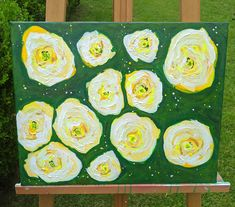 This can hang vertical or horizontal. Yellow roses. Bed of roses. Acrylic painting of yellow flowers. Cottage roses. Abstract flowers. Click the link to my Etsy shop. Custom Furniture, Painted Furniture, Vertical Or Horizontal, Rose Cottage, Abstract Flowers, Yellow Flowers, My Etsy Shop, Handmade Gifts, Decorating