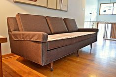 Mid Century Atomic Era Low Profile Reversible Sofa by DirtyGirlsAntiques on Etsy