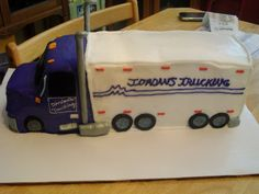 big rig - 18 wheeler truck...carved from sheet cakes w/ fondant wheels.