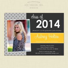 Graduation Invitation - Style #105 Printed or Digital Graduation Party Invitation by 505 Design, Inc