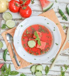 Spicy Watermelon Gazpacho Soup http://cookingstoned.tv/recipe/spicy-watermelon-gazpacho-soup/?utm_content=buffer023a2&utm_medium=social&utm_source=pinterest.com&utm_campaign=buffer #cincodemayo #recipe