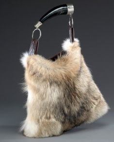 d02156e3bd1d Dominique Coyote Fur Purse with Horn Handle