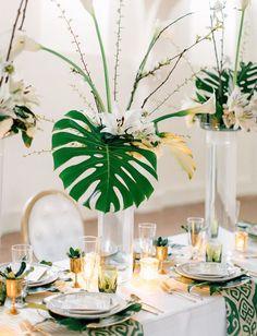 modern tablescape with palm leaf centerpieces / http://www.deerpearlflowers.com/tropical-leaf-greenery-wedding-decor-ideas/2/