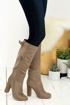From On High Taupe Suede Knee High Heel Boots at Lulus.com!