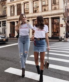 Denim skirt and jeans / White shirts